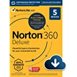 Norton 360 Deluxe – Antivirus software for 5 Devices with Auto Renewal - Includes VPN, PC Cloud Backup & Dark Web Monitoring