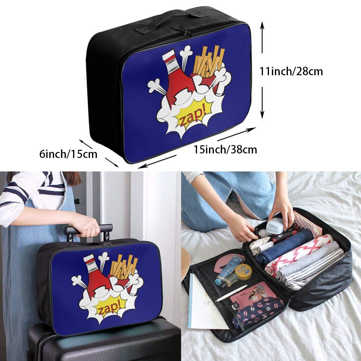 Travel Luggage Duffle Bag Lightweight Portable Handbag French Fries Large Capacity Waterproof Foldable Storage Tote