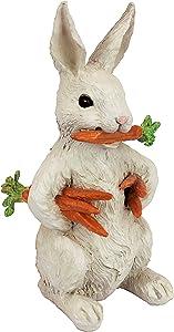 Design Toscano EU1054 Carotene The Rabbit with Carrots Easter Decor Garden Statue, 12 Inch, Full Color