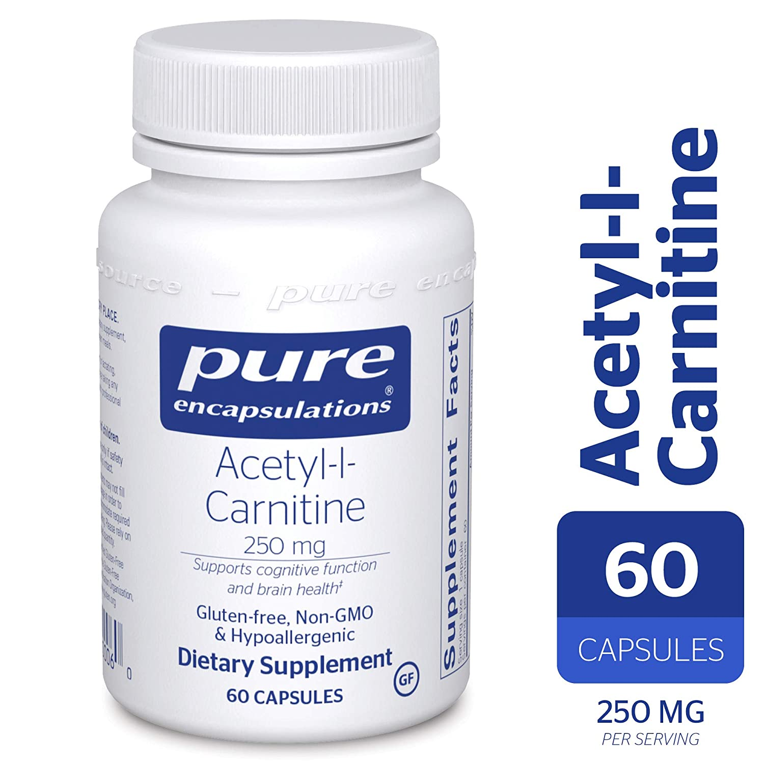 Pure Encapsulations – Acetyl-l-Carnitine 250 mg – Hypoallergenic Supplement to Promote Memory and Attention* – 60 Capsules