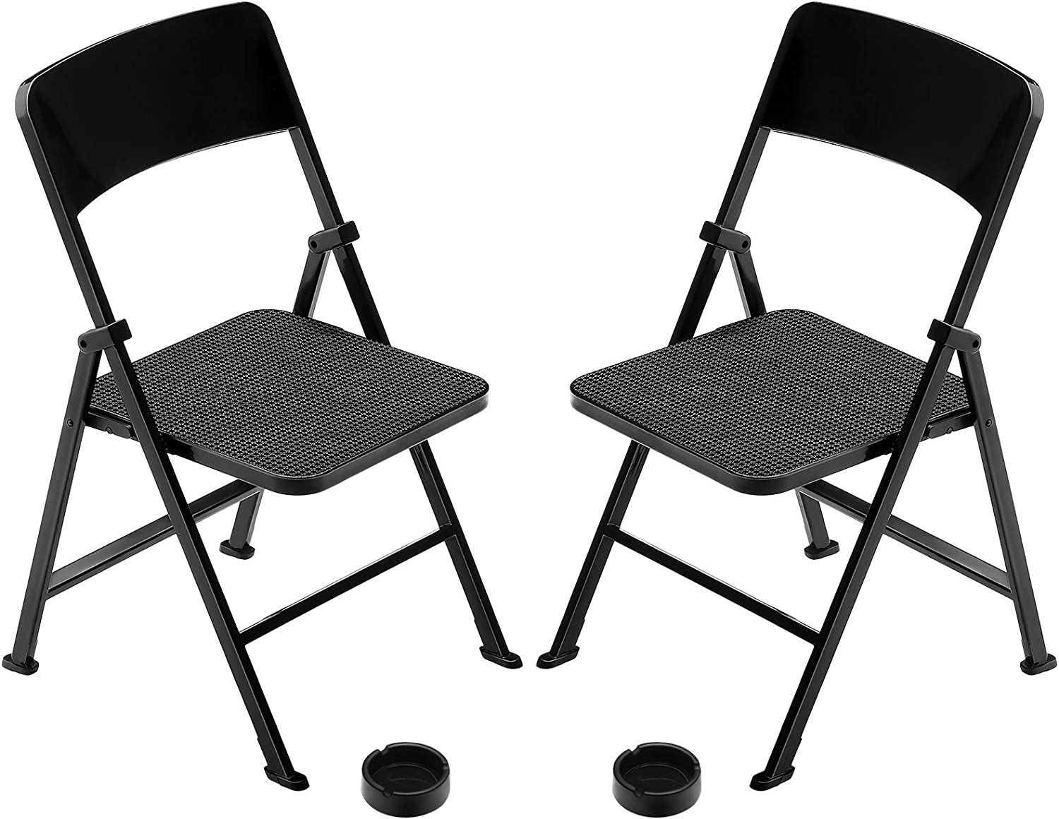 1/6 Scale Folding Mini Chair Dolls Folding Chair Playsets Miniature Furniture Toy Folding Doll Chairs Decoration for Birthday Baby Shower Holiday Festival Present (Black)