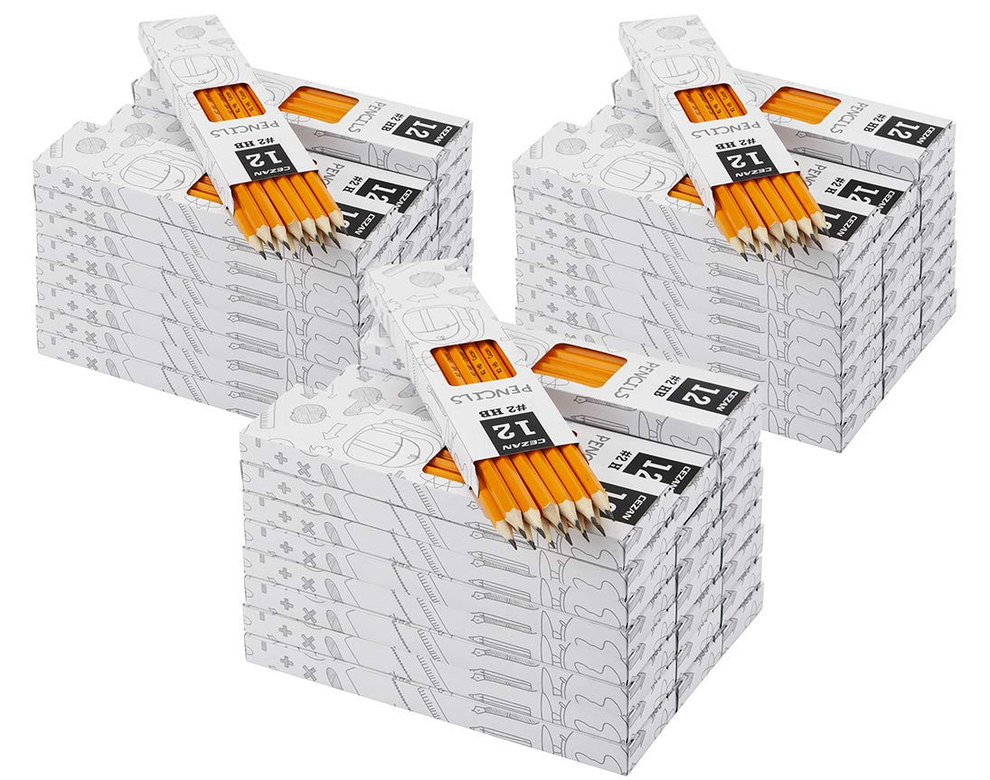 #2 HB Pencils - Wood Cased Yellow Pencils - Pre-sharpened - 12 Count 72 Box - Class Pack by Cezan by Cezan