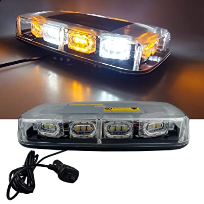 High Intensity Law Enforcement Emergency Hazard Warning LED Mini Bar Strobe Light with Magnetic Base 12V-24V (Amber & White & Amber & White): Automotive