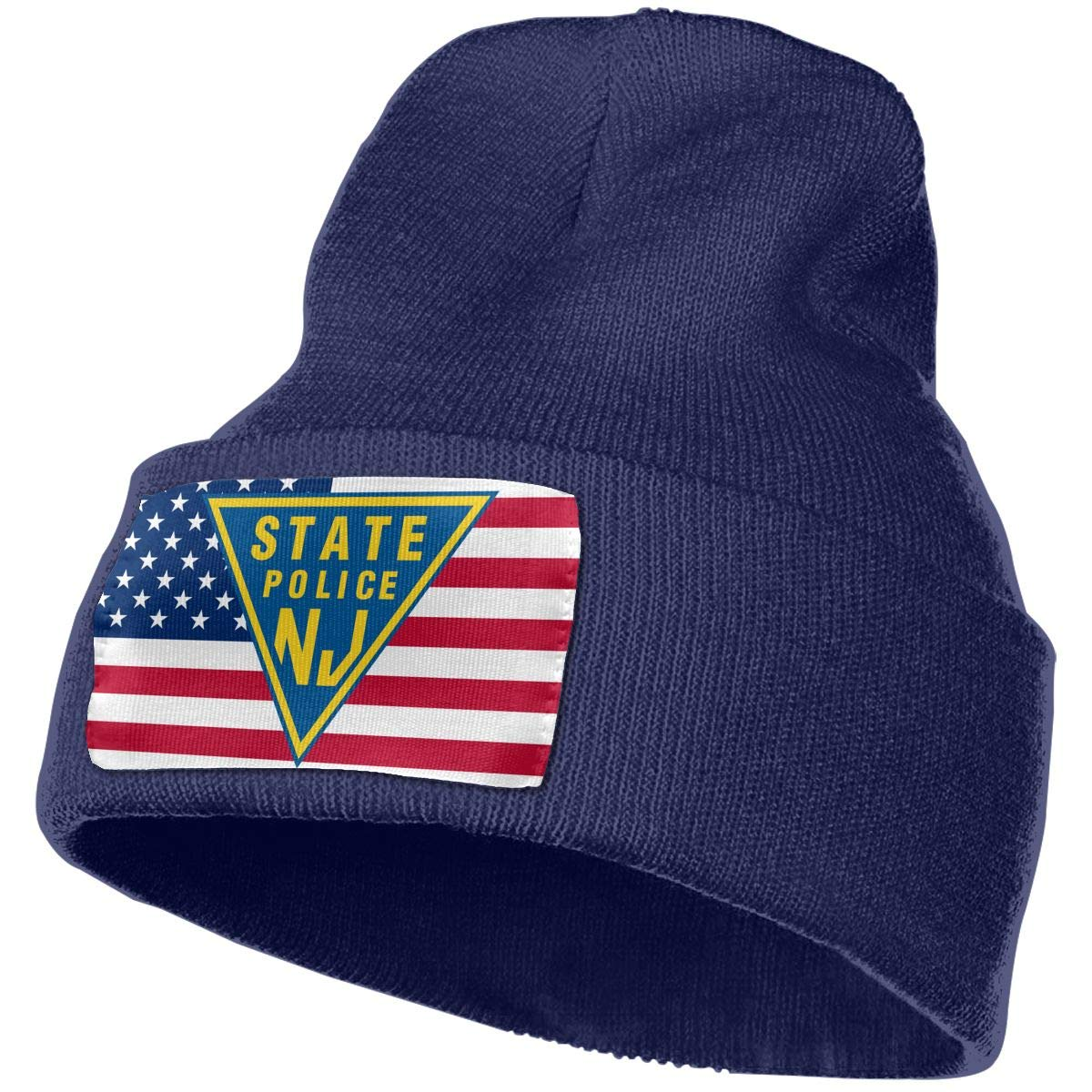 NJ State Police Men/&Women Warm Winter Knit Plain Beanie Hat Skull Cap Acrylic Knit Cuff Hat