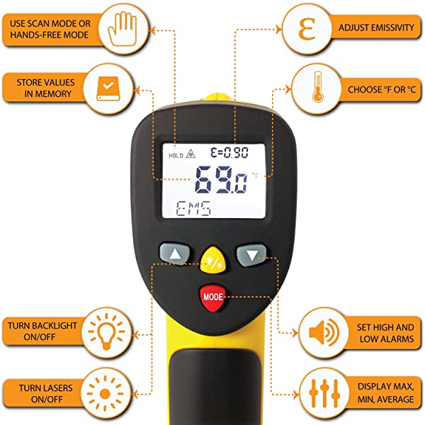 ennoLogic eT1050D Laser Infrared Thermometer with Digital Surface is a highly recomemded Thermometer because It comes with an alarm feature