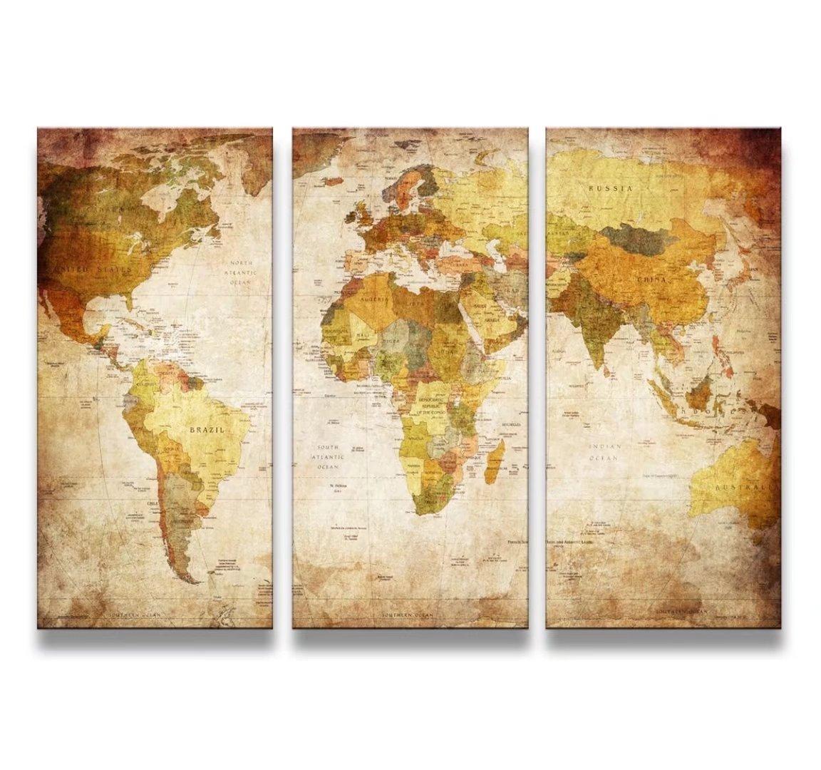 レモンツリーART 世界地図 キャンバスアートパネル アンティーク風世界地図 アートフレーム キャンバス絵画 インテリアパネル インテリア絵画 インテリア装飾 壁飾り ワールドマップ 木枠付きの完成品(40cm*80cm*3パネル) B071VK4XPQアートパネル(40cm*80cm*3)
