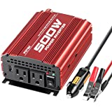 POTEK 500W Car Power Inverter DC 12V to AC 110V with 2AC outlets and 2A USB Port