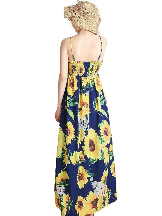 DSUK Mujer Bolsillos Laterales Estampado Sin Mangas Cuello V Florales Vestidos Largos Verano Suelto Vestidos Playa: Amazon.es: Ropa y accesorios