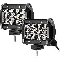 LE Focos de Coche 2pc 36W 12 LED Potentes 4 Pulgadas, 3600lm Resistente al agua IP67, Blanco Frío, Faro para Camión…