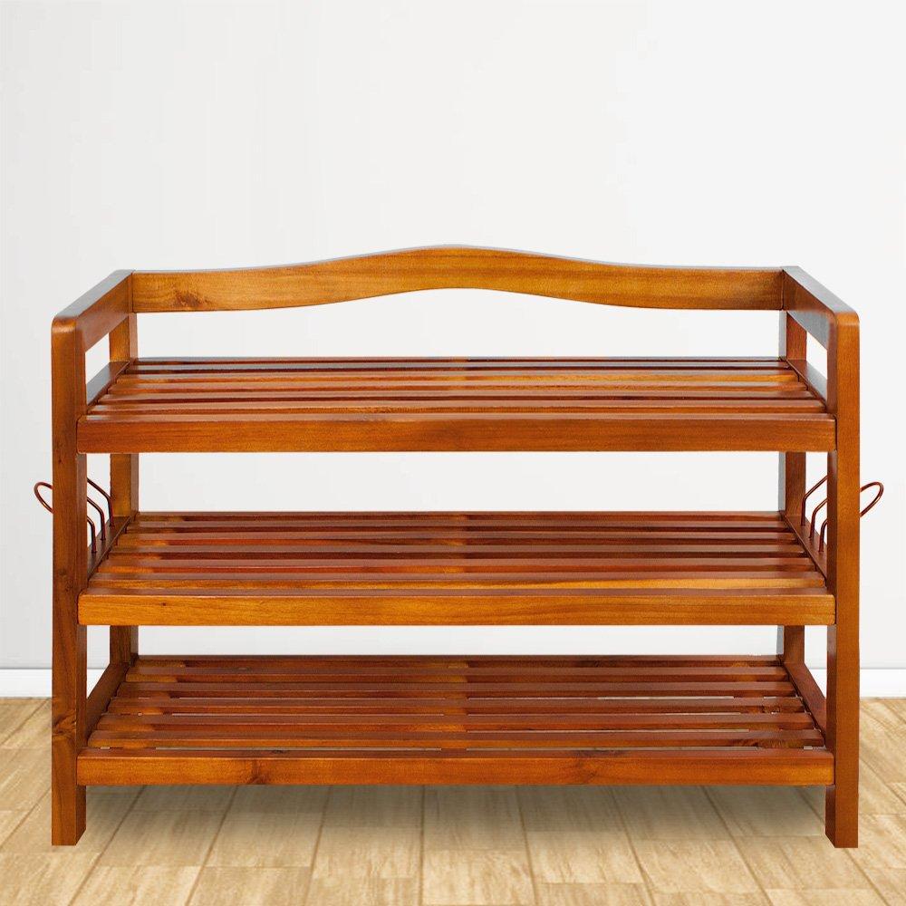 Zapatero elegante de madera dura de acacia de estilo colonial - 2 baldas - Acabado de gran calidad - Medidas: (ancho x fondo x alto) 74 cm x 26 cm x ...