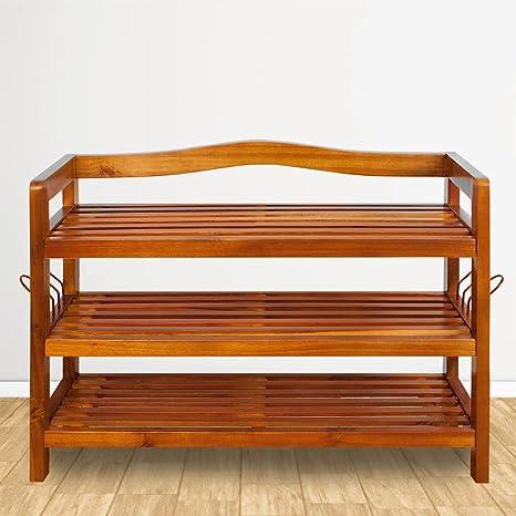 Zapatero elegante de madera dura de acacia de estilo colonial - 3 baldas - Acabado de gran calidad - Medidas: (ancho x fondo x alto) 85 cm x 26 cm x ...
