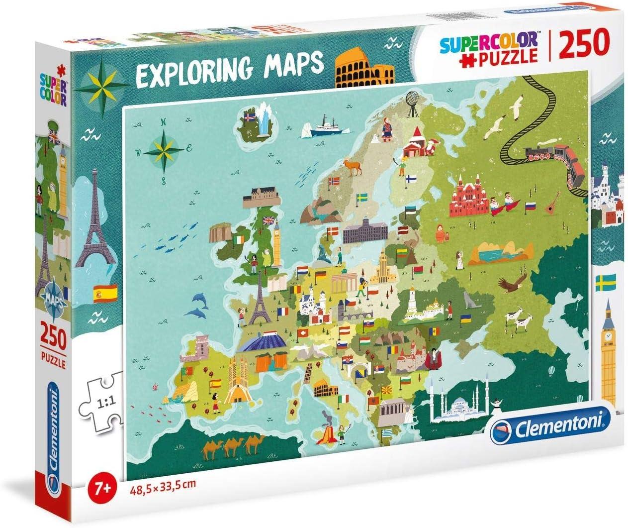 Clementoni- Puzzle Mapa 250 Piezas Europa - Lugares (29062.8): Amazon.es: Juguetes y juegos