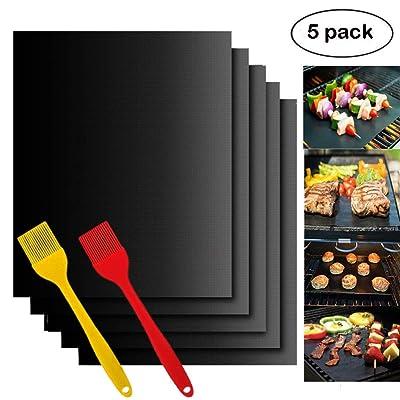 Woson Lot de 5tapis de barbecue antiadhésive (40x 30cm) Home Cuisine Cuisson barbecue Tapis de feuilles–Idéal pour la cuisson au gaz, Charbon de bois, four électrique ou Grilles Accessoires de Barbecue avec 2Coque en si