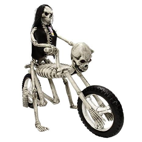 Amazoncom Halloween Haunters Life Size Evil Skeleton Motorcycle