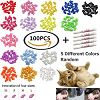 100 PCS Soft Pet Cat Nail Caps VICTHY Cats Paws Grooming Nail Claws Caps Covers 5 Kinds 5Pcs Adhesive Glue Medium Size