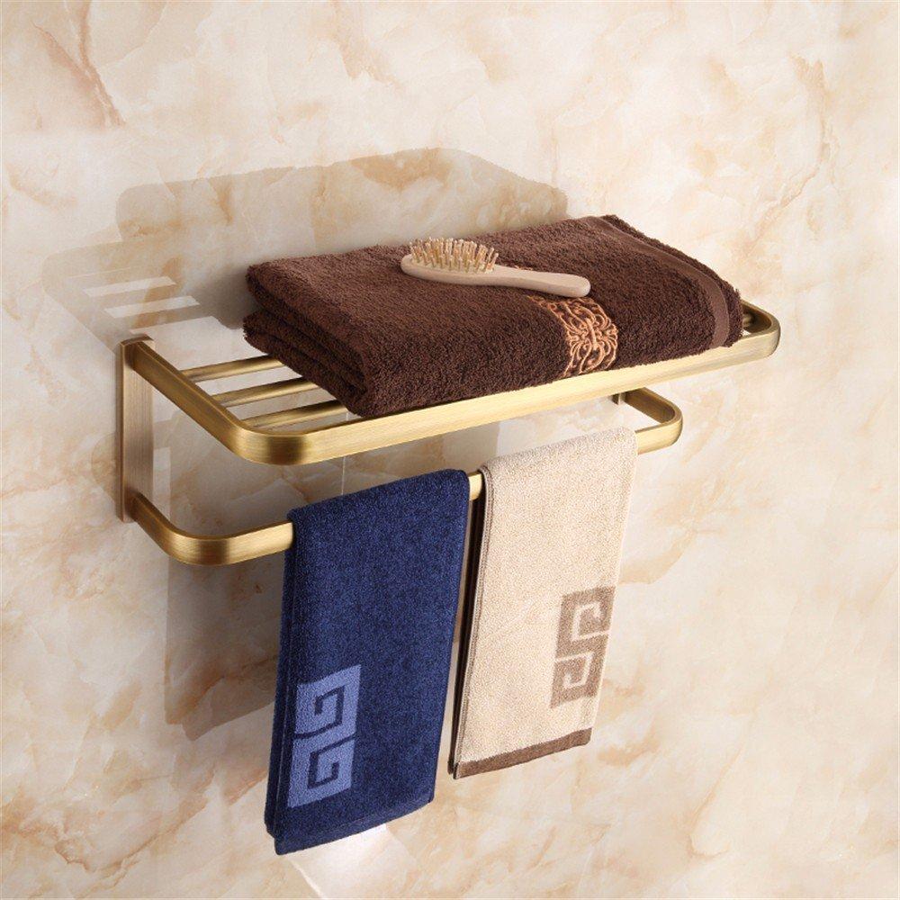 HOMEE European Style All Copper Towel Rack Bathroom Retro Shelf Bathroom Pendant