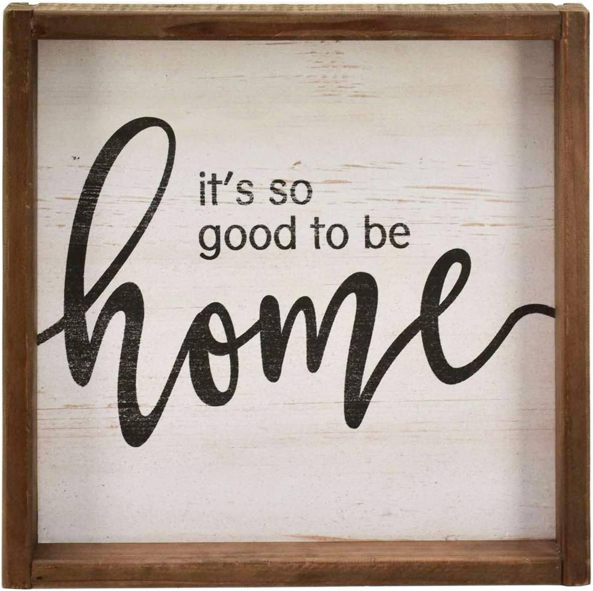 Vintage Wood Frame Home Sign with Inspirational Sentiment - It's So Good to Be Home, Farmhouse Rustic Wood Decor for Living Room Bedroom, Square, 11.8 Inch