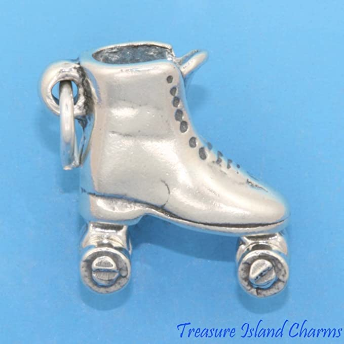 .925 Sterling Silver Inline Skates CHARM Rollerblade Derby Skating PENDANT *NEW*