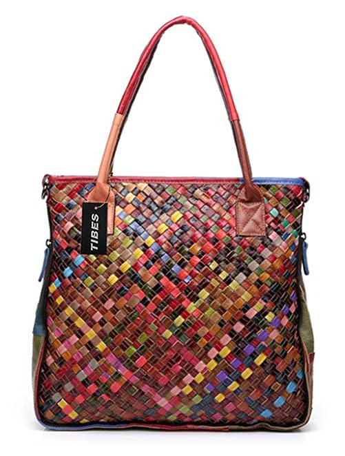 Brand-new Tibes Leather Woven Handbag Womens Cross Body Bag Purse Multicolor  IK27
