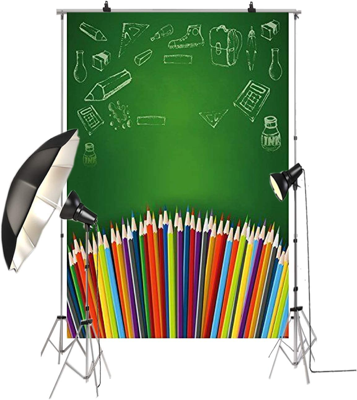 5x7ft Back to School Backdrop Colorful Pencils Background for Photography School Memorial Classroom Theme Baby Shower Photo Props Studio D-3557