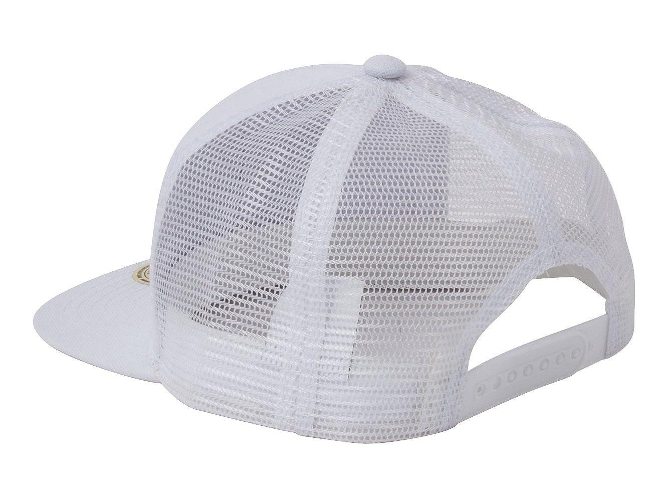 e25ecf069e3 Amazon.com  TOP HEADWEAR USA Flag Flat Bill Trucker Mesh Snapback Hat -  White  Clothing