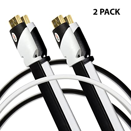 amazon com jumbl 2 pack flat hdmi cable 10 feet multi color rh amazon com