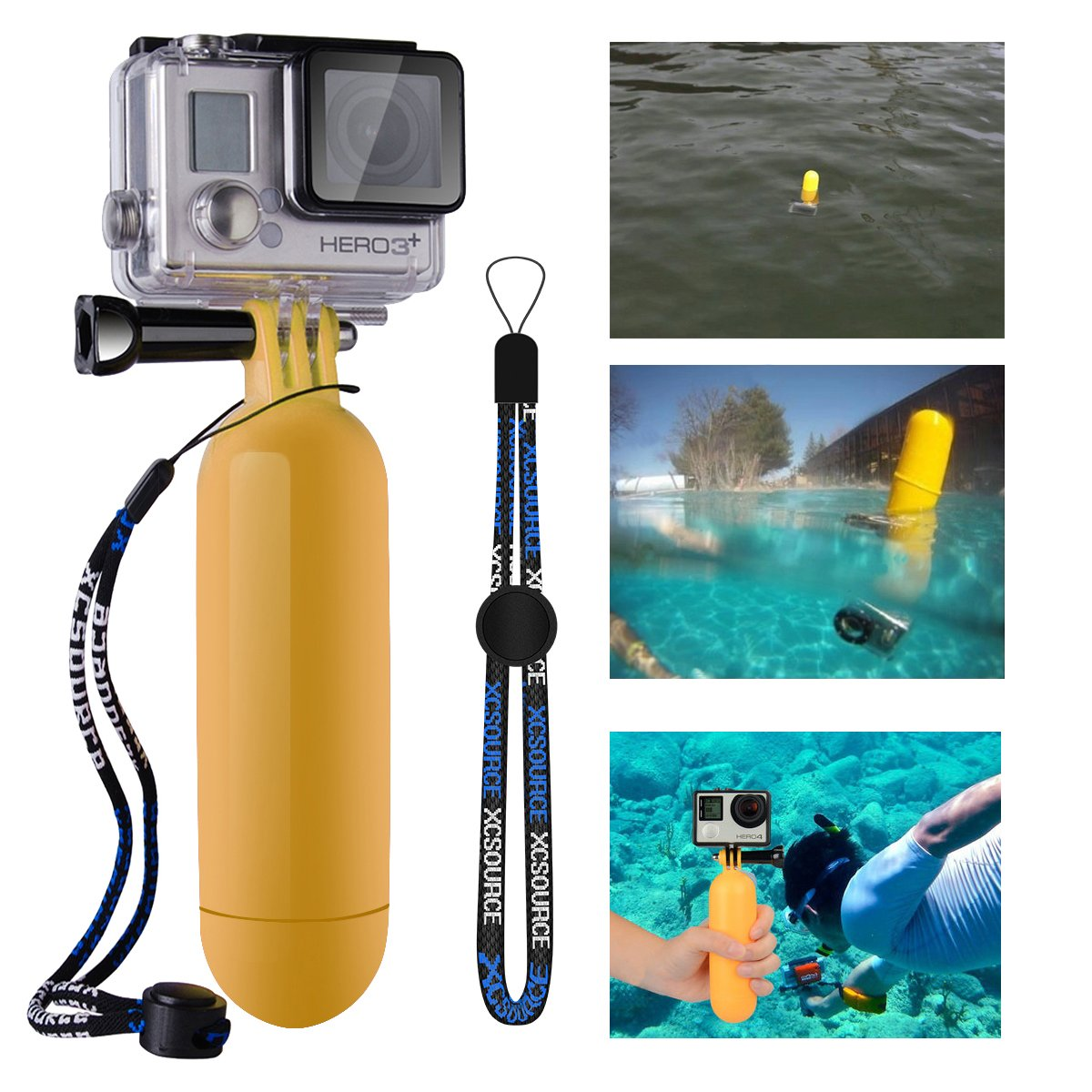XCSOURCE® Monopod Diving Floaty Floating Hand Grip Handle + Screw + Wrist Strap Accessory Float For Gopro Hero 2 3 3+ Yellow OS97 4894479114179