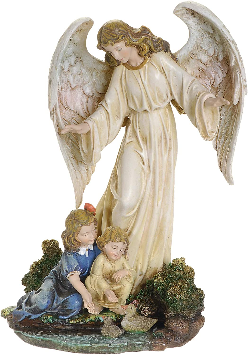 """Joseph's Studio by Roman - Guardian Angel with Children Figure on Base, Renaissance Collection, 8.5"""" H, Resin and Stone, Religious Gift, Decoration"""