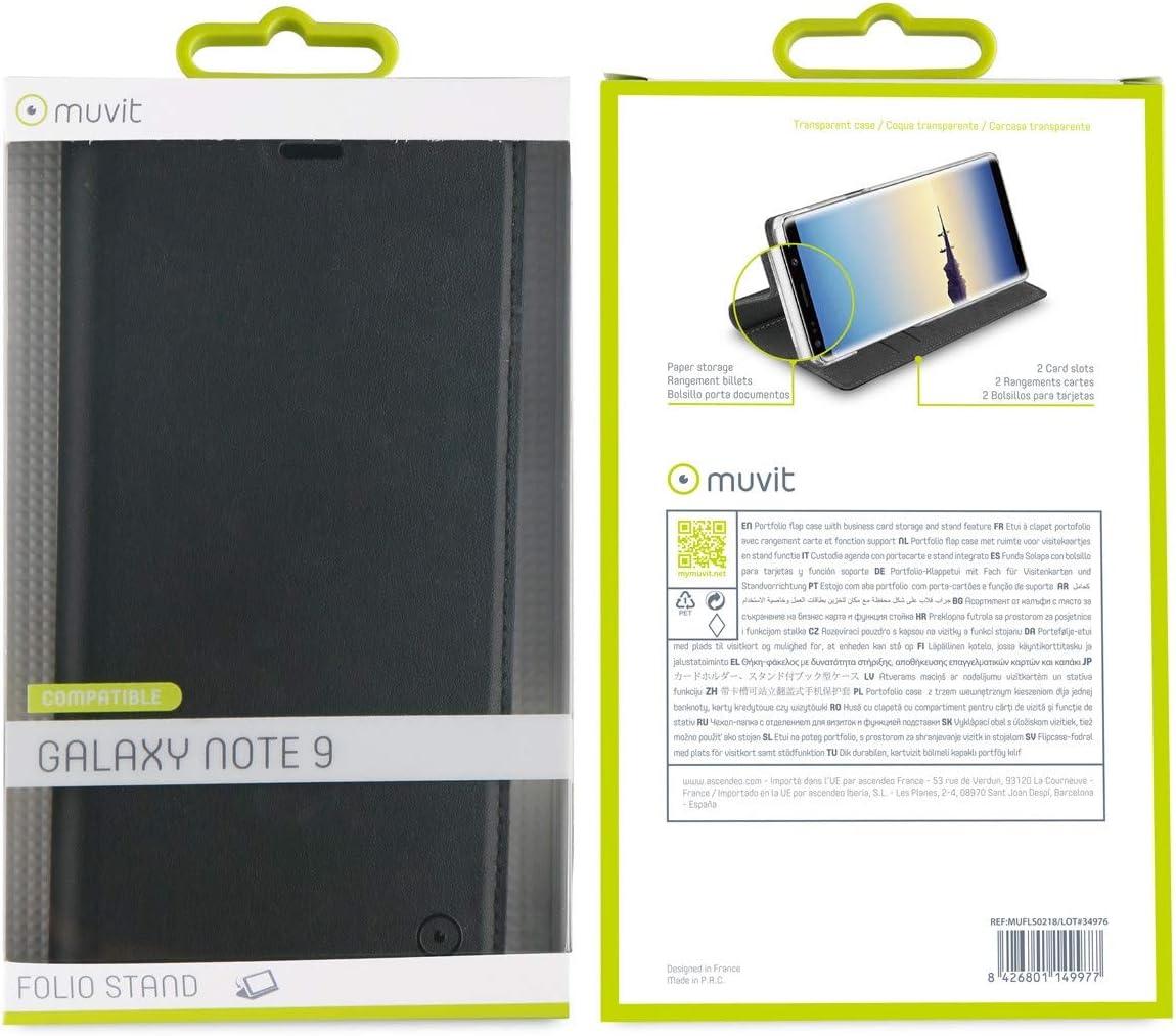 muvit Folio/ //étui pour Samsung Galaxy Note 9/avec Fonction Support Couleur Noir