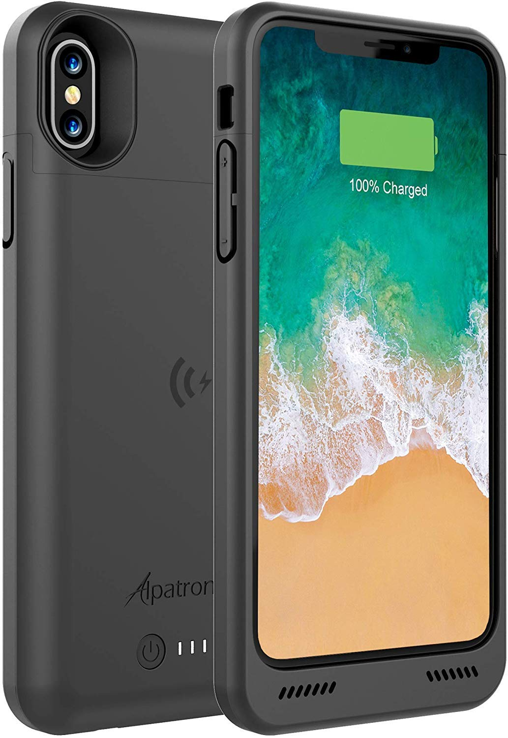 Alpatronix iPhone Xs/X Battery Case, BXXs 4200mAh Slim Portable Protective Extended Charger Cover with Qi Wireless Charging Compatible with iPhone X & iPhone Xs (5.8 inch) - (Black) by Alpatronix