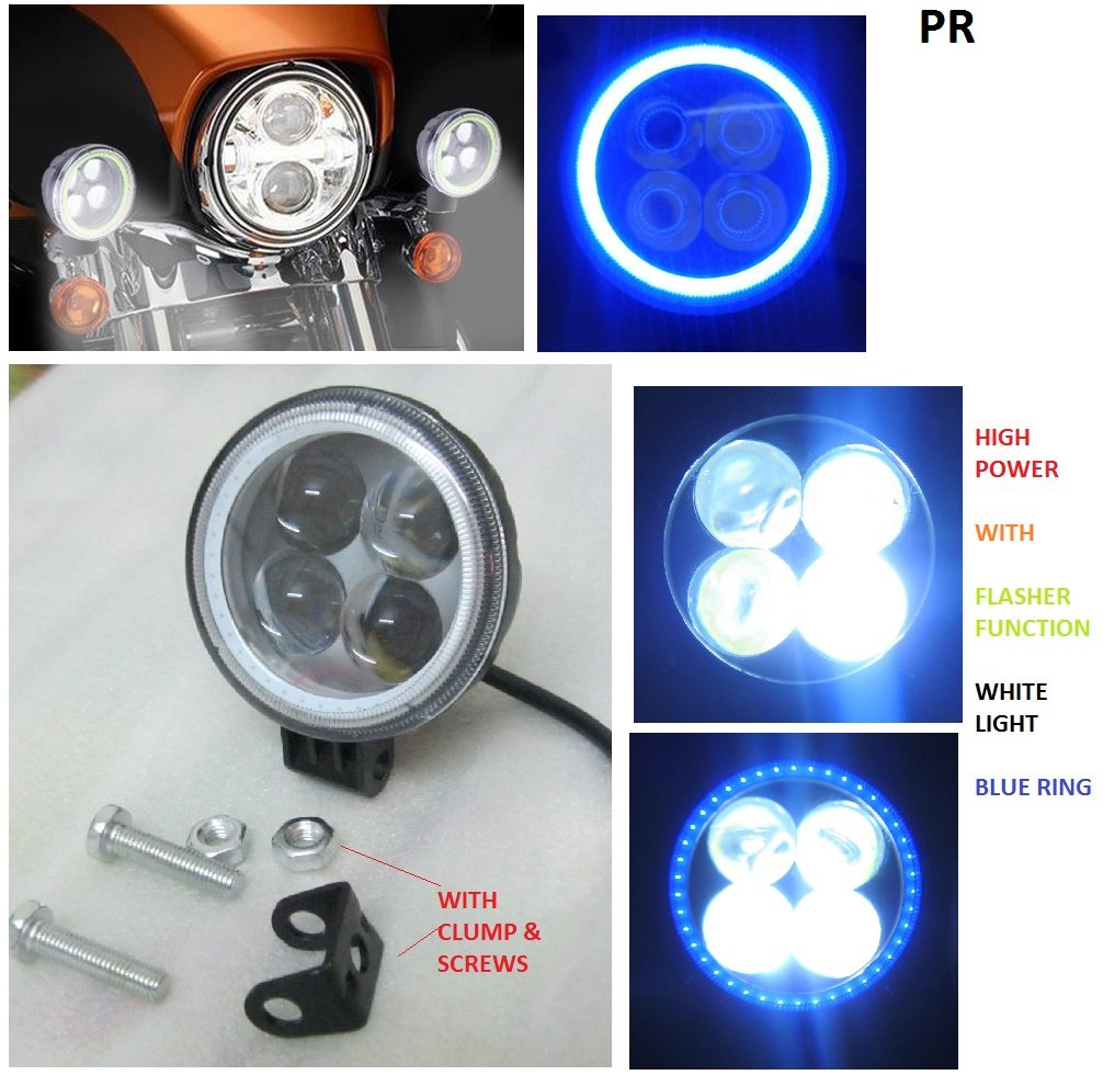 Pr Fog Light 4 Led White With Blue Ring Bike Motorcycle 1pc Around Flasher For Royal Enfield Bullet Classic 350 Car Motorbike