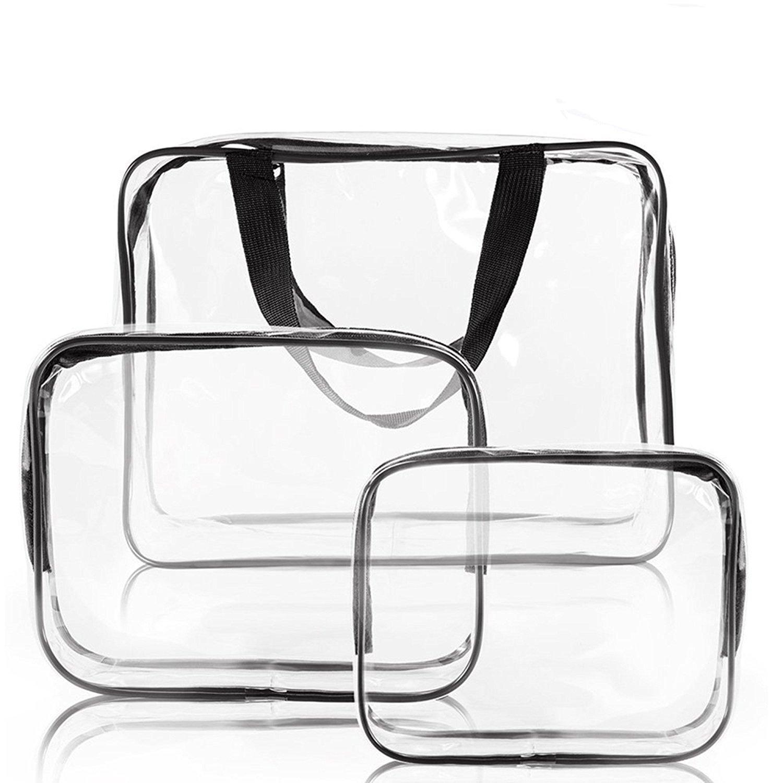 SIMCAST 3 en 1 Cadeaux Sacs de maquillage et étuis Sac en plastique Transparent Sac de voyage en PVC Brosses Organisateur pour hommes et femmes Voyage d'affaires Salle de bains
