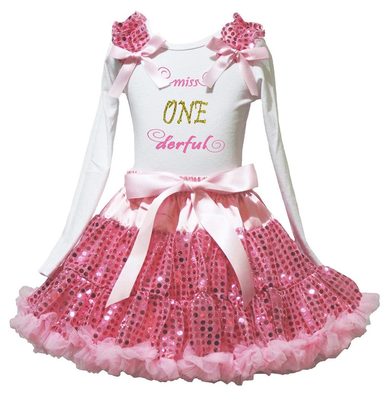 Petitebella 2nd Princess White Shirt Hot Pink Sequins Skirt Set 1-8y