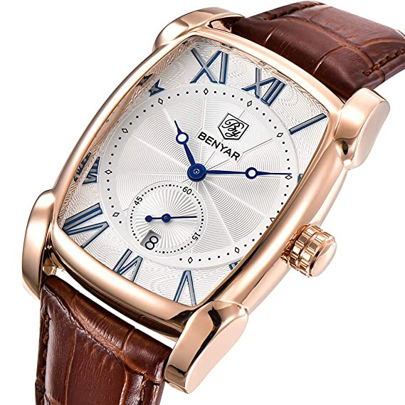 benyar Hombres Reloj Clásico Rectángulo números romanos Dial Vintage elegante piel Business Casual Elegante Reloj Gorgeous: Amazon.es: Relojes