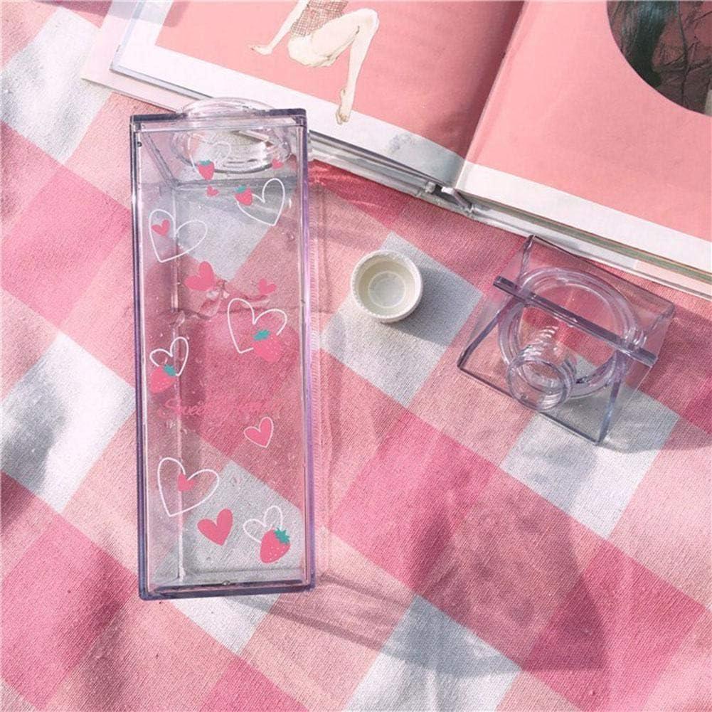 Renoble Sakura Milchbecher Tragbare Wasserflasche Milchaufbewahrung Sakura-Print Erdbeer-Print Sportgetr/änk Klare Tasse Milchbox Quadratische Tasse F/ür das B/üro zu Hause favorable approving