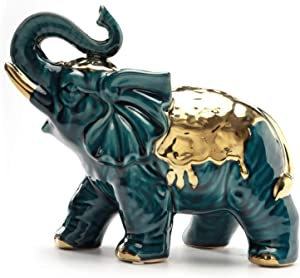 Elephant Statue Ceramic Gilted Gold Golden Brass Thailand Figurine Decor Sculpture Ornament Decoration Wealth Lucky feng Shui Collectible Holiday Large Size Buddha Buddhist (1.Green)