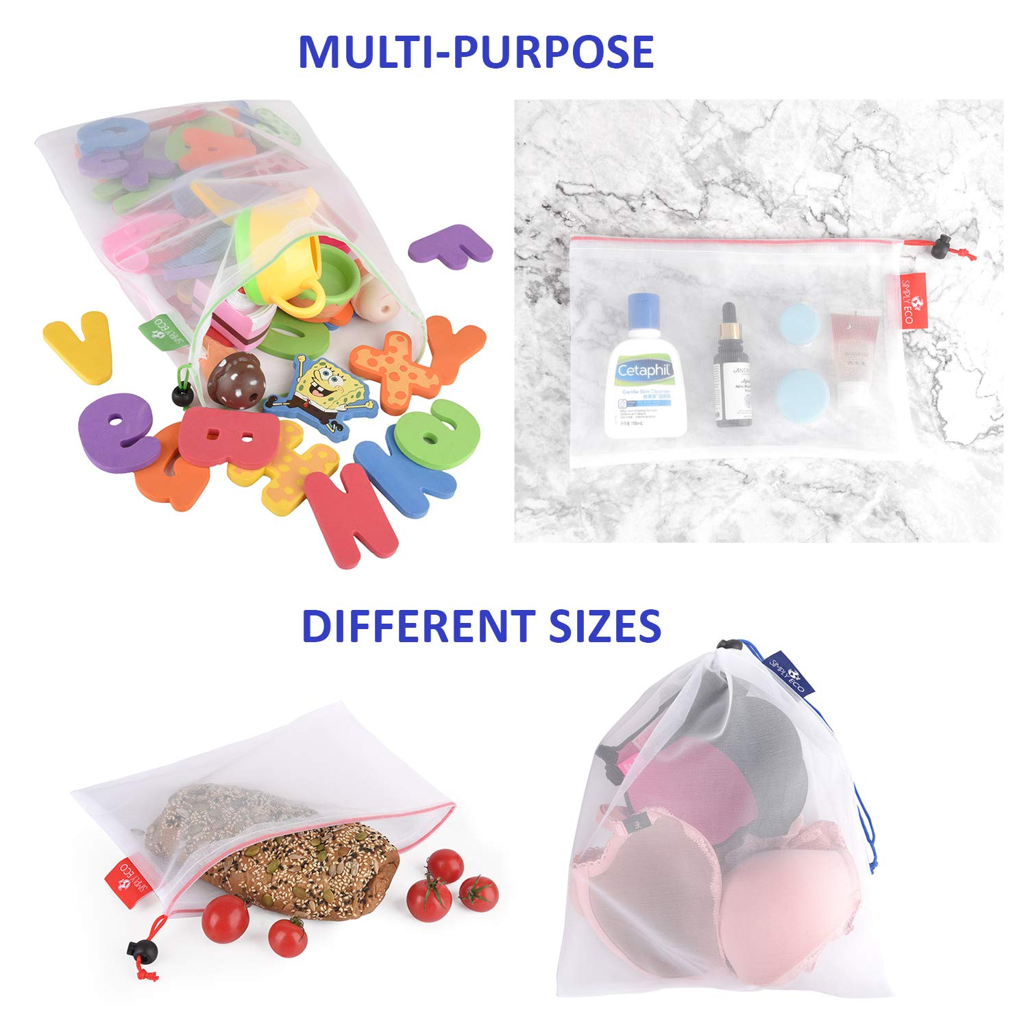 Simply Eco 9 Reusable Produce Bags with Weight /& Color-coded tags.