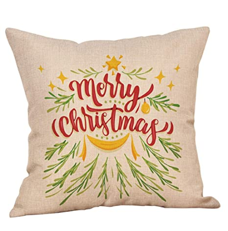 lonupazz Merry Christmas Lino Funda de cojín Navidad Fundas ...