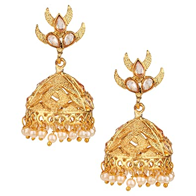 c7b3dbf2d Buy Pourni exclusive Designer American Diamond Jhumka Earring -KRER08  Online at Low Prices in India | Amazon Jewellery Store - Amazon.in