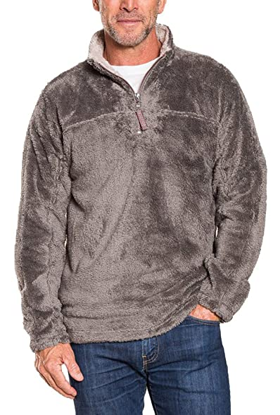 True Grit Men's Double Plush Half Zip Pullover (Charcoal, XS) at ...