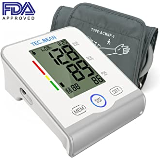 #19 TEC.BEAN Arm Blood Pressure Monitor - Accurate, FDA Approved - Adjustable Cuff,