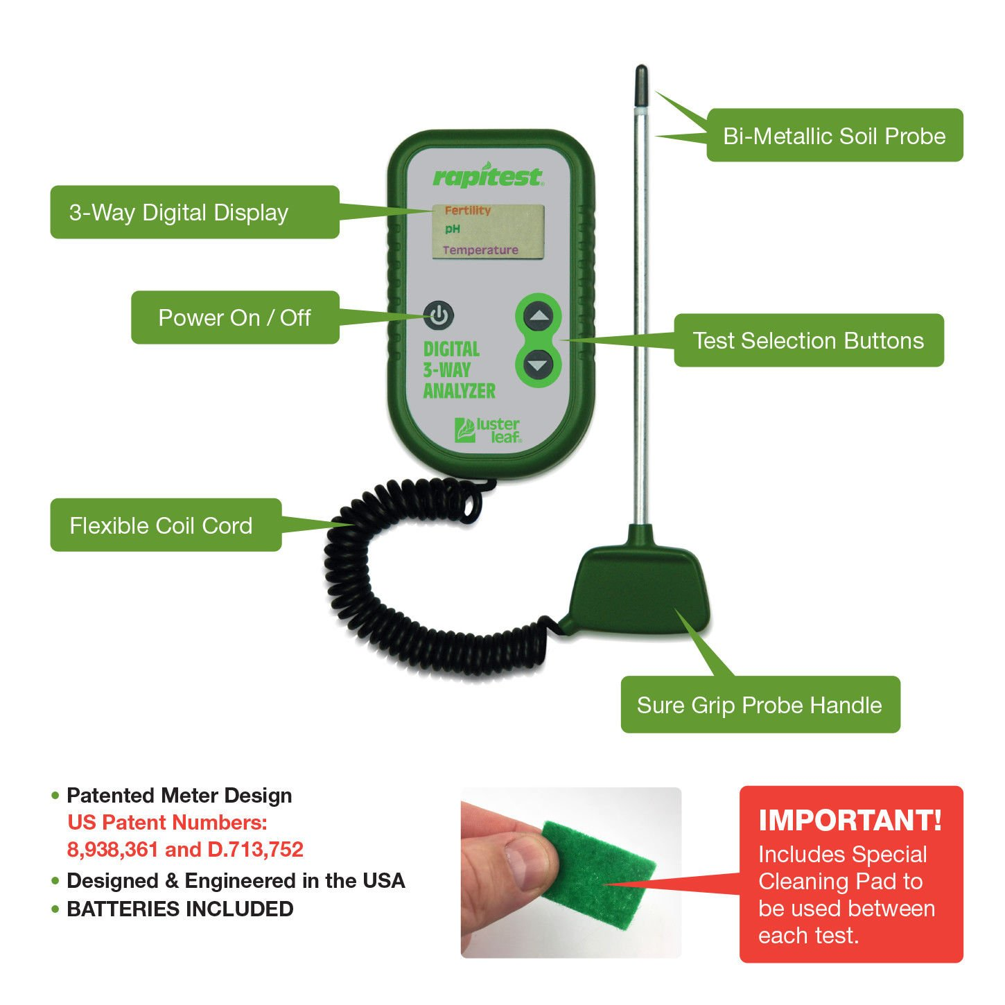 Simply Silver Soil Analyzer - Luster Leaf Rapitest Electronic 3-Way Soil Analyzer - pH, Temperature, Fertility