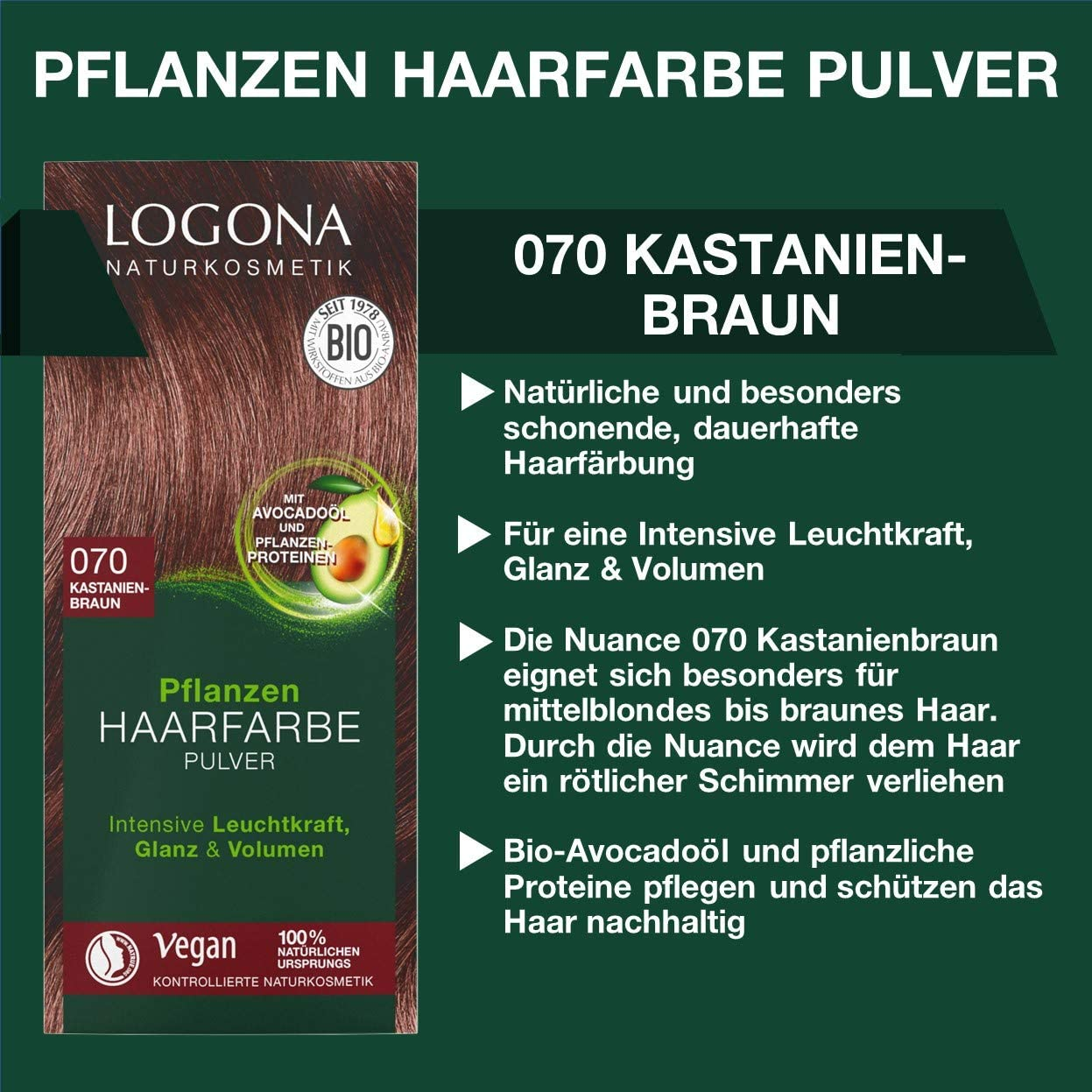 LOGONA Naturkosmetik - Tinte para el cabello en polvo 070 castaño, con aceite de aguacate, vegano y natural, color marrón natural con henna, ...
