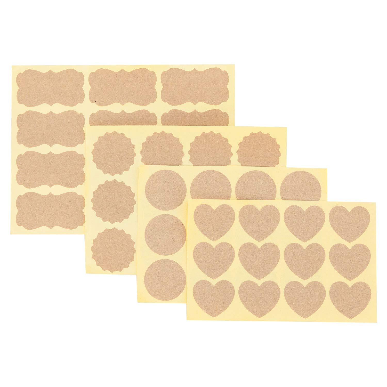 Etichette di carta Kraft Adesivi Adesivi di tenuta assortite per bottiglie di olio essenziale, barattoli di vetro, contenitori per alimenti o decorazioni regalo, 40 fogli, 480 pezzi