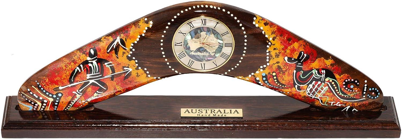 Finecraft Australia Wooden Unique Fancy Table Clock for Living Room Decor- Boomerang Shape