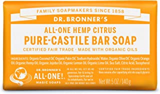 product image for Dr. Bronner's - Pure-Castile Bar Soap (Citrus, 5 ounce) - Made with Organic Oils, For Face, Body and Hair, Gentle and Moisturizing, Biodegradable, Vegan, Cruelty-free, Non-GMO
