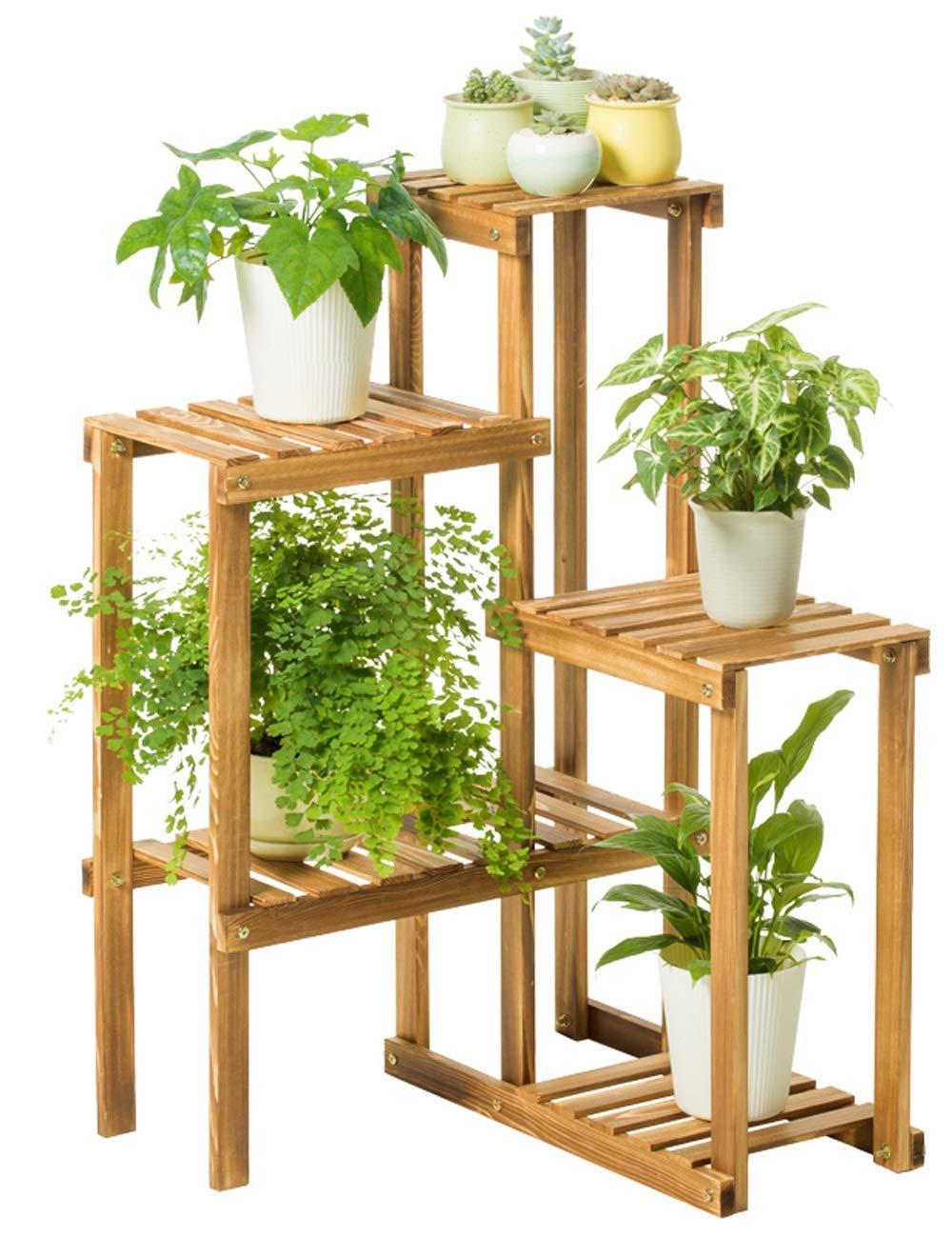 ガーデンフラワーポットラックホームフラワースタンド耐久性のある植物ラック 純木の花の立場のバルコニーのマルチレベルの床の緑の植木鉢の木枠の居間の屋内多肉植物、穿孔する必要性無し B07PCP3Q7H