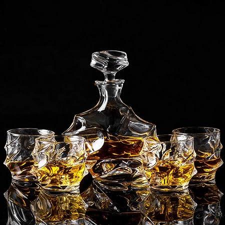 KANARS WD09 Jarra de Whisky, 5 Piezas, 100% Libre de Plomo Cristalino Resistente Botella de Whisky Set para Scotch, Bourbon, 750ml Decantador y 4 Vasos de Whisky 320ml, Caja de Regalo