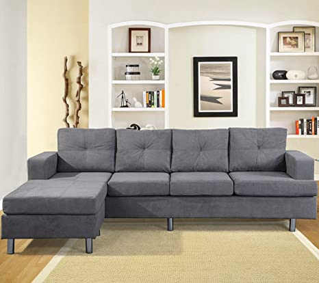 Amazon.com: 2-Piece Sectional Sofa Set with Reversible ...