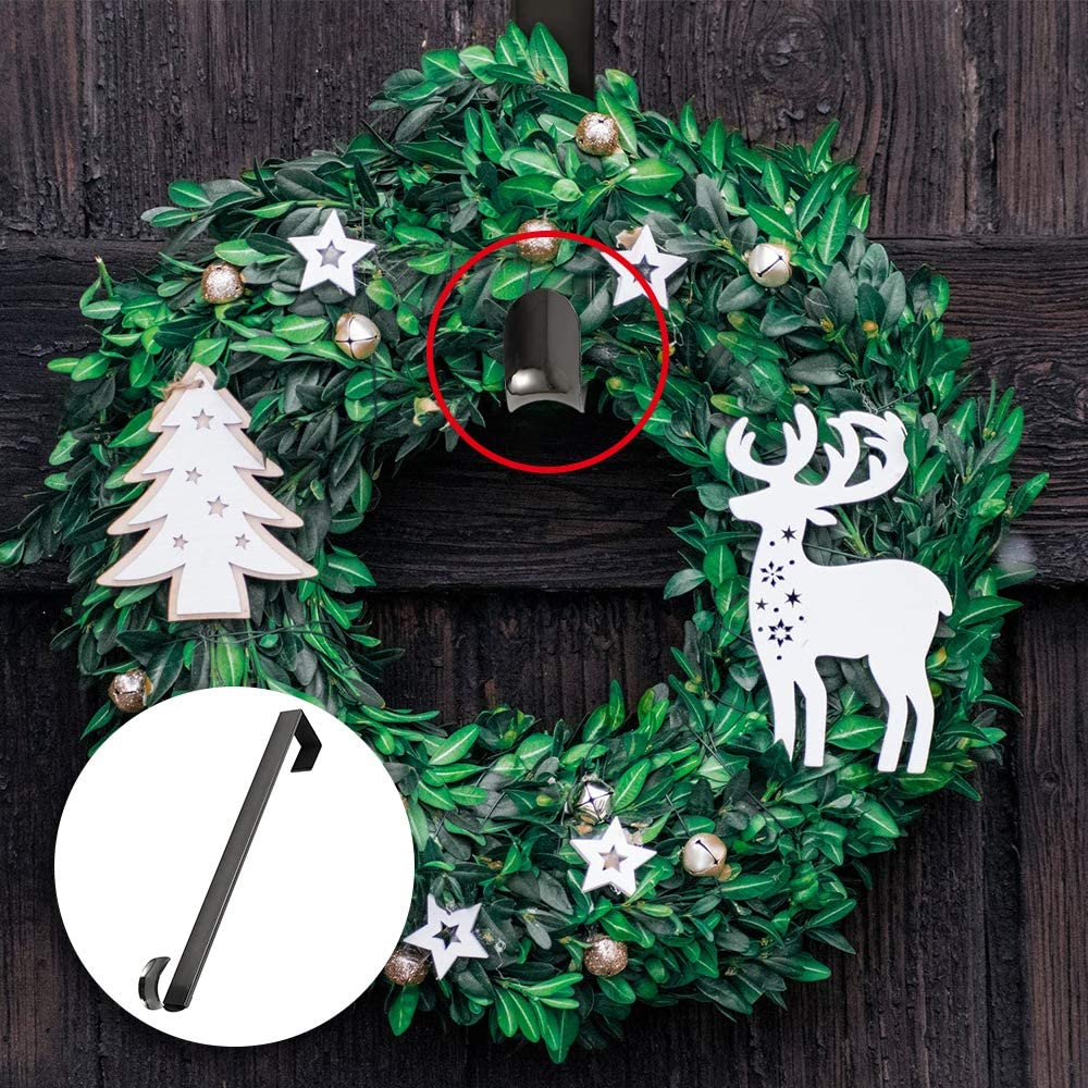 Christmas Wreath Hanger Stocking Holders Fireplace Mantel Hooks Clip Non-Slip Grip for Christmas Party Decoration and Hanging Handbags Black, 1Pcs